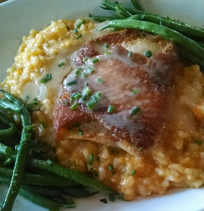 Flounder over risotto and haricot vert
