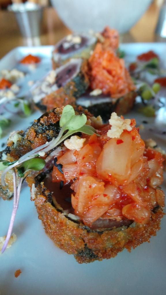 Crispy nori-wrapped tuna, kimchi, almonds & sesame