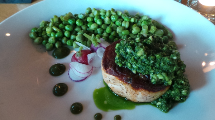 Salmon with spring vegetable succotash and lemon-verbena cashew pesto