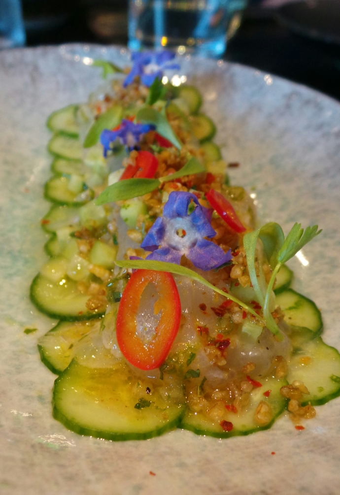 Fluke crudo with toasted barley